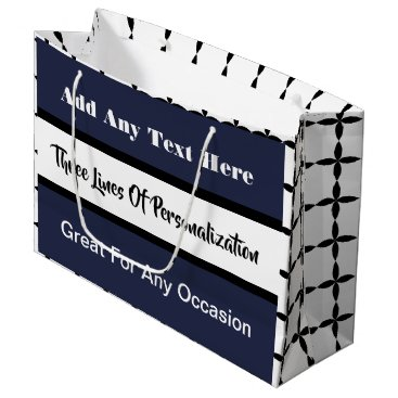 Wedding Themed 3 Lines of Customization Multi-Occasion Blue Large Gift Bag