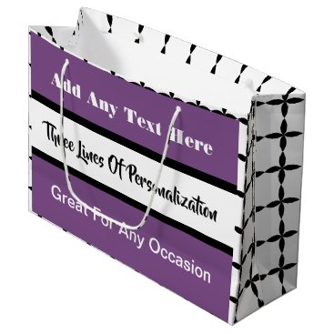 Wedding Themed 3 Lines of Customization Multi-Occasion Pink Large Gift Bag