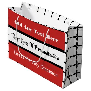 Wedding Themed 3 Lines of Customization Multi-Occasion Red Large Gift Bag