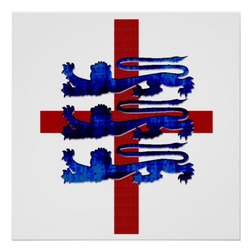 3 lions England St George's flag gifts Poster