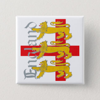 3 Lions on St George's Cross Pinback Button