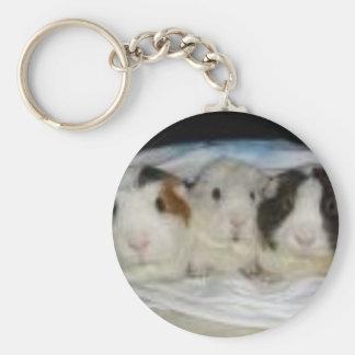 3 little pigs basic round button keychain