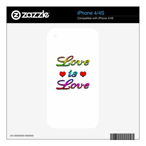<3 Love is Love <3 Decal For iPhone 4S