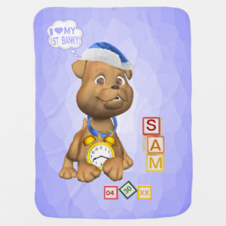 3 Ltr Name Version Puppy Design Customizable Banky Receiving Blanket