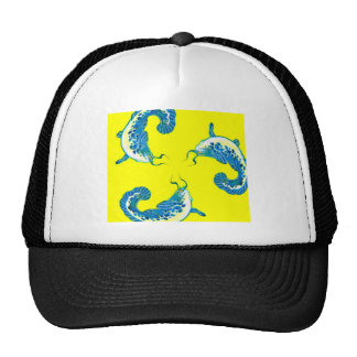 3 Lucky Blue Fish #2 Mesh Hat