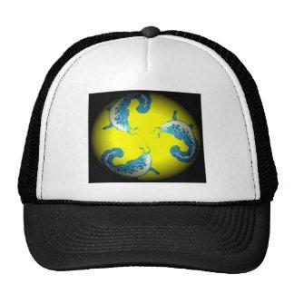 3 Lucky Blue Fish Mesh Hats