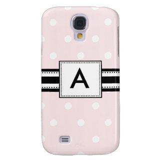 3 - Lunares rosados cones monograma Funda Para Galaxy S4