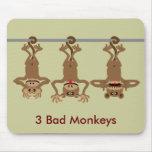 3 malos monos tapetes de ratones