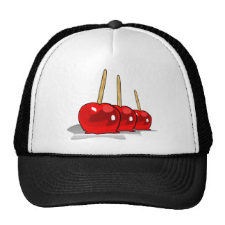 3 manzanas de caramelo rojas gorras de camionero