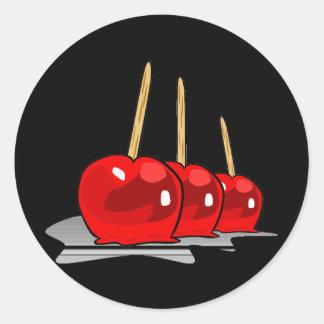 3 manzanas de caramelo rojas pegatinas redondas