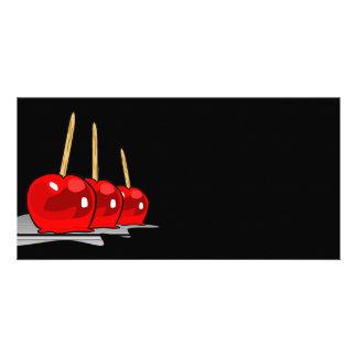 3 manzanas de caramelo rojas tarjetas fotográficas personalizadas