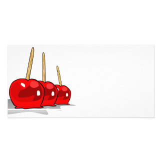 3 manzanas de caramelo rojas tarjetas personales