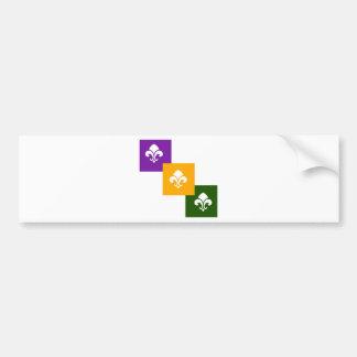 3 Mardi Gras Colored Boxes w/Fleur de Lis Bumper Sticker