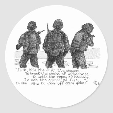 3 Marines Classic Round Sticker