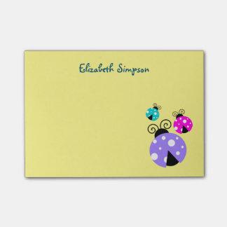 3 mariquitas en Personlized rosado y azul púrpura Notas Post-it®