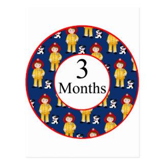 3 meses de jalón del bombero tarjetas postales