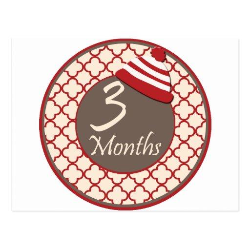 3 meses del calcetín de jalón del mono tarjeta postal