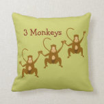 3 Monkeys Cute Cartoon Zoo or Jungle Animals Throw Pillow