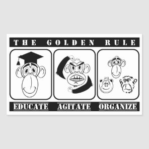 3 monkeys educate agitate organize rectangular sticker