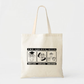 3 monkeys Educate Agitate Organize Tote Bag