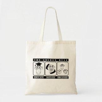 3 monkeys Educate Agitate Organize Tote Bag