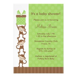 3 Monkeys Green Baby Shower Invitation Personalized Invitations