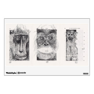 3 Monkeys Original Drawings on book pages decal
