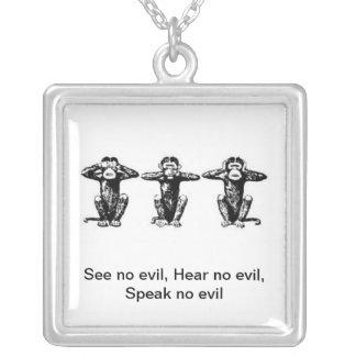 3 Monkeys Square Pendant Necklace
