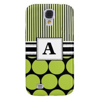 3 -Monogram Green Polka Dots Galaxy S4 Case