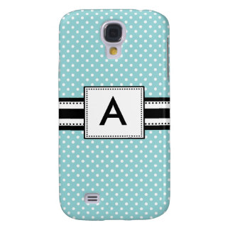 3 -Monogram Mod Blue Polka Dots Galaxy S4 Cover