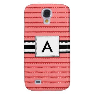 3 - Monogram Mod Coral Stripes Samsung Galaxy S4 Cover