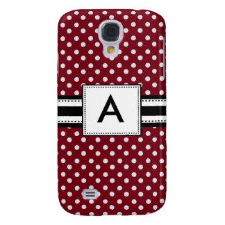 3 -Monogram Mod Red Polka Dots Galaxy S4 Case