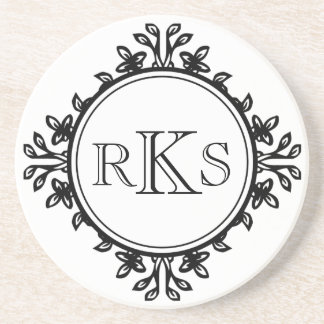 3 monogram royal letter black white leaf border drink coaster