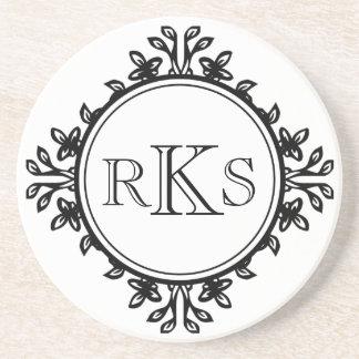 3 monogram royal letter black white leaf border drink coaster