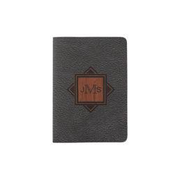 3 Monogrammed Initials | Wood Grain Black Leather Passport Holder