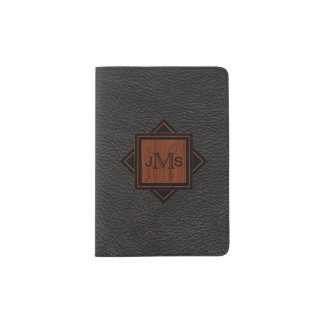3 Monogrammed Initials | Wood Grain Black Leather Passport Holder