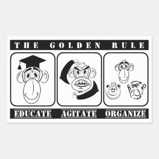 3 monos educan agitan organizan pegatina rectangular