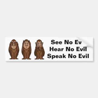 3 monos, no ven ningún mal, no oyen ningún mal, no pegatina para auto