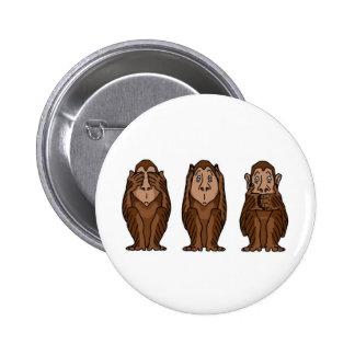 3 monos, no ven ningún mal, no oyen ningún mal, no pin redondo 5 cm