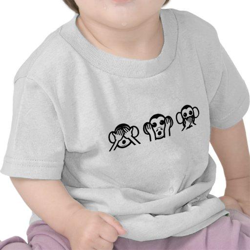 3 monos sabios Emoji Camisetas