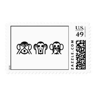 3 monos sabios Emoji Estampillas