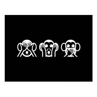 3 monos sabios Emoji Tarjeta Postal
