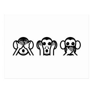 3 monos sabios Emoji Tarjetas Postales
