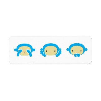 3 monos sabios etiqueta de remitente