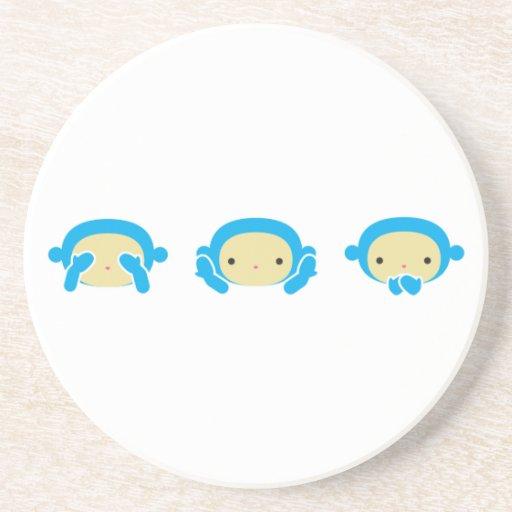 3 monos sabios posavaso para bebida