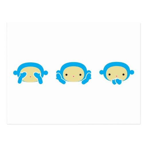 3 monos sabios postal