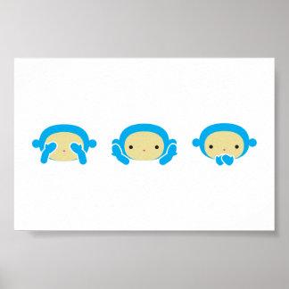 3 monos sabios póster