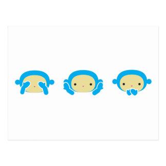 3 monos sabios postales