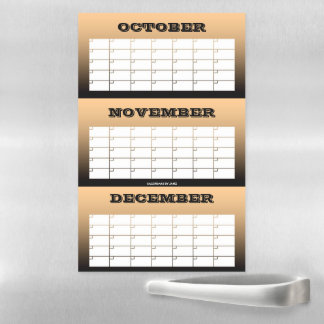 3 Month Copper Blank Calendar by Janz Magnetic Dry Erase Sheet