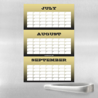 3 Month Gold Blank Calendar by Janz Magnetic Dry Erase Sheet